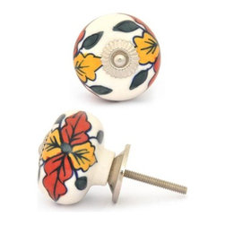 """Knobco - Ceramic Knob, Yellow,Red and Green leaf - Yellow,Red and Green leaf with White Ceramic knob, perfect for your kitchen and bathroom cabinets! The knob is 1.8"""" in diameter and includes screws for installation."""