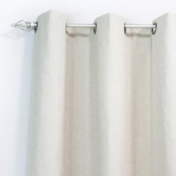 Chooty and Co Wisdom Grommet Curtain Panel - Make a very wise decision when you hang the handsome and lovely Chooty and Co Wisdom Grommet Curtain Panel in your home. The linen and viscose construction gives a luxurious hand, and the pale tan color is certain to add an understated beauty to your design scheme. You'll love the way these curtains finish your space.About Chooty & Co.A lifelong dream of running a textile manufacturing business came to life in 2009 for Connie Garrett of Chooty & Co. This achievement was kicked off in September of '09 with the purchase of Blanket Barons, well known for their imported soft as mink baby blankets and equally alluring adult coverlets. Chooty's busy manufacturing facility, located in Council Bluffs, Iowa, utilizes a talented team to offer the blankets in many new fashion-forward patterns and solids. They've also added hundreds of Made in the USA textile products, including accent pillows, table linens, shower curtains, duvet sets, window curtains, and pet beds. Chooty & Co. operates on one simple principle: What is best for our customer is also best for our company.