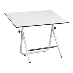 Alvin and Company - Adjustable Angle & Height Easy Fold Table (30 in. W x 42 in. W x 30.5 in. H - Bl - Finish: 30 in. W x 42 in. W x 30.5 in. H - Black. Includes table base and White drawing board tabletop. Easy to fold and easy to adjust. Height adjustment easily attained with the turn of over-sized knobs on both sides. Angle adjustments are supported by a heavy-duty crescent mechanism on the underside of tabletop. Front cross member support bar doubles as footrest. Front support bar provides ample clearance for 5-prong chair base. Front legs fold flat against rear legs for ease of transport and/or storage. Infinite angle adjustments 0° to 70°. Height adjustment: 30.5 in. to 44 in. (in the horizontal position). 30 in. W x 42 in. D x 30.5 in. H (53.75 lbs.). 36 in. W x 48 in. D x 30.5 in. H (66 lbs.)