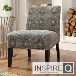 Inspire Q - Inspire Q Kayla Medallion Floral Fabric Armless Lounge Chair - This Kayla armless lounge chair is a one-of-a-kind accent chair that is the perfect way to breathe new life in to your decor. The ultra comfortable chair features a deep, wide seat and is covered in a fun and elegant print upholstery.