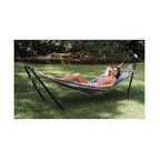 """Texsport - Texsport - Crystal Bay Hammock/ Stand Combo - 97"""" x 31-1/2"""" total size. 76"""" x 30"""" bed size. Cool durable polyweave P.V.C. coated bed. 250 lbs weight limit. Hardwood spreader bars and four welded metal suspension rings. Stand constructed of black powder coated 1-1/2"""" tubular steel. Carry bag with shoulder strap"""