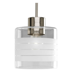 Progress Lighting - Progress Lighting P5159-09 One-Light Mini-Pendant With Clear And Etched Glass - One-light stem hung mini-pendant with clear & etched glass.