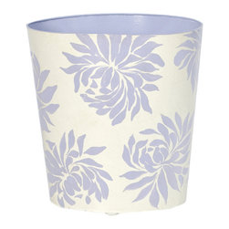 Worlds Away Oval Wastebasket, Lavender Floral - Worlds Away Oval Wastebasket, Lavender Floral