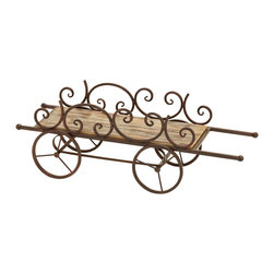 Benzara - Country Cart Themed Planter Stand For Your Plants - This planter stand is designed in the clever shape of a farmers carrying cart. The cart bed is made with treated copper brown wood to best compliment the lush green leaves of your plant, and to arrange however you like. Plants are a wonderful thing to liven up any space, and fits in with any style of decor you can imagine.