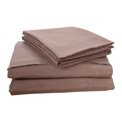 Honeymoon - Honeymoon Breathable Soft Egyptian Cotton 4PC Bed Sheet Set, Pine Bark, Queen - 55% Cotton 45% Polyester