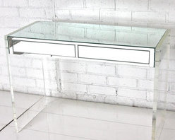 Mirror & Lucite Desk/Vanity - Lucite and mirrors take the glamour up a notch in this desk set.