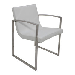 Nuevo Living - Clara Dining Chair in White Leather by Nuevo - HGTA409 - The Clara dining chair in white leather features Italian leather with CFS foam and a high polish stainless steel frame.
