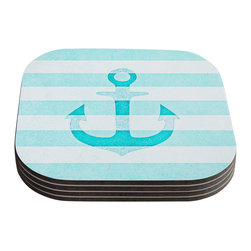 """Kess InHouse - Monika Strigel """"Stone Vintage Aqua Anchor"""" Coasters (Set of 4) - Now you can drink in style with this KESS InHouse coaster set. This set of 4 coasters are made from a durable compressed wood material to endure daily use with a printed gloss seal that protects the artwork so you don't have to worry about your drink sweating and ruining the art. Give your guests something to ooo and ahhh over every time they pick up their drink. Perfect for gifts, weddings, showers, birthdays and just around the house, these KESS InHouse coasters will be the talk of any and all cocktail parties you throw."""