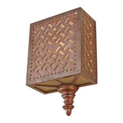 "Murray Feiss - Murray Feiss WB1609MOB Kandira 12-5/8"" 1 Light Wall Sconce in Moroccan Bronze WB - The lattice like shades give the lights of the Kandira Collection a Middle Eastern flavor.Bulb Included: No Bulb Type: Incandescent Collection: Kandira Finish: Moroccan Bronze Height: 12-5 8 Light Direction: Up Down Lighting Material: Resin Steel and Glass Max Wattage: 60 Number of Lights: 1 Safety Rating: UL Damp Suggested Room Fit: Foyer, Hallway, Living Room Voltage: 120 Weight: 5.9 Width: 8 Wire Cord Length: 96"
