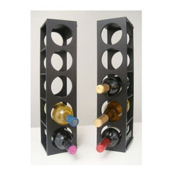 Proman - Proman Rutherford Wine Rack, Black - Rutherford Wine Rack, comes, in set of two units. Contemporary simple line design. Stackable on table or wall mountable. Oak veneer. Holds 5 wine bottles, in each stack. Fully assembled.