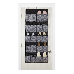 Laura Ashley - 20-pocket Over the Door Shoe Organizer - This Delancey shoe organizer features 20 pockets suitable for 20 pairs of shoes. The polyester organizer displays a beautiful pattern of black, white and grey.