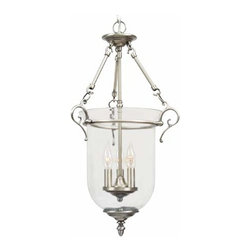 Livex Lighting - Legacy Brushed Nickel Lantern Pendant - -Features Clear Glass  -Includes 3 feet of chain, 10 feet of wire Livex Lighting - 5022-91