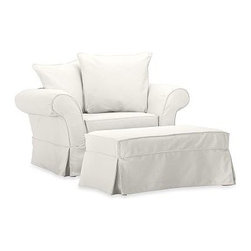 Charleston Chair-and-a-Half Slipcover, Twill White - Designed exclusively for our popular Charleston Collection, these soft, inviting slipcovers retain their smooth fit and remove easily for cleaning. Care varies depending on {{link path='pages/popups/fab_leather_popup.html' class='popup' width='720' height='800'}}fabric type{{/link}}. This item can also be customized with your choice of over 90 custom fabrics and colors. For details and pricing on custom fabrics, please call us at 800.840.3658 or click Live Help above. All slipcover fabrics are hand selected for softness, quality and durability. This is a special-order item and ships directly from the manufacturer. To see fabrics available for Quick Ship and to view our order and return policy, click on the Shipping Info tab above. Catalog / Internet Only.