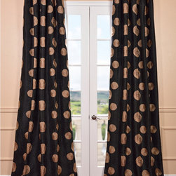 EFF - Zen Garden Black Embroidered Faux Silk 96-inch Curtain Panel - Defined by a unique sheen and fine weave,this Zen Garden black faux silk taffeta curtain panel is gorgeous and timeless. An embroidered pattern on a shimmering solid background with complimentary color stitching highlights this curtain panel.