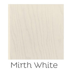 """Mirth Studio's """"Mirth White"""" Hardwood Floor Tile - From our Solids Collection, """"Mirth White"""" Hardwood Floor Tile- Mirth Studio offers solid wood tiles that pre stained with Mirth Studio signature stain colors. They are ½ """" thick engineered hardwood and are available in Oak or Hickory. They are all prefinished with a 100% resin urethane coating. These tiles can be used alone as flooring or as a companion to Mirth Studio's patterned tiles and borders."""
