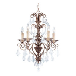 Savoy House - Savoy House 1-1397-5-256 Antoinette 5 Light Mini Chandelier - An exceptionally delicate and refined family that features a combination of graceful pendalogues and charming Almond crystals, with beautifully ribbed bobeches and Cream Beeswax candles. Our New Mocha finish combines bronze and silver to make this a very