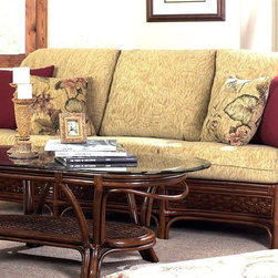 Boca Rattan - Coco Cay Rattan Sofa w 2 Toss Cushions in Urb - Fabric: 641Intricate design styles and woven detailing give this bamboo and rattan sofa an appealing look that will add an element of island inspiration to any home's decor. It features an urban mahogany finish and includes cushioned seats and backs in your choice of diverse fabric options. Cushion and toss cushions included. Coffee table not included. Indoor use only. Leather bindings. Constructed from strong and durable rattan. 35 in. W x 79 in. L x 36 in. H (145 lbs.)