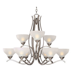 Maxim Lighting 21266FTSN Contour Satin Nickel 9 Light Chandelier - 9 Bulbs, Bulb Type: 100 Watt Incandescent
