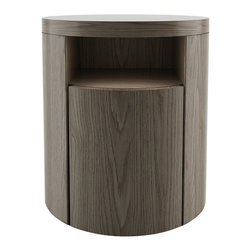 Modloft - Mulberry Nightstand, Walnut - The Mulberry round nightstand adds dimension to any bedroom. Features a single drawer and upper shelf. Italian Danco-brand soft-closing hardware enables smooth and effortless drawer movement. Interior of drawers elegantly lined in light beige linenboard. Available in wenge or walnut finishes. Also available in white lacquer finish. Arrives assembled. Imported.