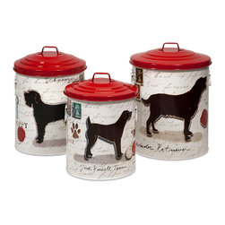 Dog Food Storage Canisters w/Dog Images&Red lids - Set of 3 - Keep your dog treats fresh with these trendy dog food storage containers.