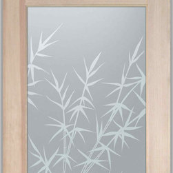 """Bathroom Doors - Interior Glass Doors Frosted - Bamboo Forest - CUSTOMIZE YOUR INTERIOR GLASS DOOR!  Interior glass doors or glass door inserts.  .Block the view, but brighten the look with a beautiful interior glass door featuring a custom frosted privacy glass design by Sans Soucie! Suitable for bathroom or bedroom doors, there are no clear areas on this glass.  All surface areas are etched/frosted to be 100% opaque.  Note that anything pressed up against the glass is visible, and shapes and shadows can be seen within approx. 5-12"""" of the glass.  Anything 5-12"""" from the glass surface will become obscured.  Beyond that distance, only lights and shadows will be discernible. Doors ship for just $99 to most states, $159 to some East coast regions, custom packed and fully insured with a 1-4 day transit time.  Available any size, as interior door glass insert only or pre-installed in an interior door frame, with 8 wood types available.  ETA will vary 3-8 weeks depending on glass & door type........  Select from dozens of sandblast etched obscure glass designs!  Sans Soucie creates their interior glass door designs thru sandblasting the glass in different ways which create not only different levels of privacy, but different levels in price.  Bathroom doors, laundry room doors and glass pantry doors with frosted glass designs by Sans Soucie become the conversation piece of any room.   Choose from the highest quality and largest selection of frosted decorative glass interior doors available anywhere!   The """"same design, done different"""" - with no limit to design, there's something for every decor, regardless of style.  Inside our fun, easy to use online Glass and Door Designer at sanssoucie.com, you'll get instant pricing on everything as YOU customize your door and the glass, just the way YOU want it, to compliment and coordinate with your decor.   When you're all finished designing, you can place your order right there online!  Glass and doors ship worldwide, custom packe"""