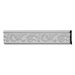"""Ekena Millwork - 5""""H x 5/8""""P x 96""""L Antonio Chair Rail - Our casing & chairrail collections offer stylings from traditional to victorian, from simple to ornate.  Each piece is modeled after historical designs and styles and are used in a variety of applications.  Chairrail is typically installed at chair height and looks great in almost any room.  Casing is primarily used around doors and windows.  And with our polyurethane material it can be used on the interior or exterior of your home."""