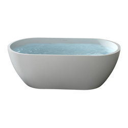 Badeloft - Modern Oval Shaped Stone Resin Freestanding Bathtub, Glossy, Extra Large - Freestanding bathtub for your wellness oasis.  This Modern, Oval Shaped, Freestanding Bathtub is made out of stone resin.  Your choice of Matte White or Glossy White.  Several of our competitors charge 10% extra for Glossy but we do Not.  Comes with built-in overflow protection and a chrome pop-up plug drain.  This bathtub also comes in a larger size.