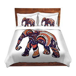 DiaNoche Designs - Duvet Cover Microfiber by Susie Kunzelman - Elephant 4 - Super lightweight and extremely soft Premium Microfiber Duvet Cover in sizes Twin, Queen, King.  This duvet is designed to wash upon arrival for maximum softness.   Each duvet starts by looming the fabric and cutting to the size ordered.  The Image is printed and your Duvet Cover is meticulously sewn together with ties in each corner and a hidden zip closure.  All in the USA!!  Poly top with a Cotton Poly underside.  Dye Sublimation printing permanently adheres the ink to the material for long life and durability. Printed top, cream colored bottom, Machine Washable, Product may vary slightly from image.