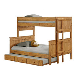 Chelsea Home Furniture - Chelsea Home Twin Over Full Stackable Bunk Bed with Trundle in Ginger Stain - Providing home elegance in upholstery products such as recliners, stationary upholstery, leather, and accent furniture including chairs, chaises, and benches is the most important part of Chelsea Home Furniture's operations. Bringing high quality, classic and traditional designs that remain fresh for generations to customers' homes is no burden, but a love for hospitality and home beauty. The majority of Chelsea Home Furniture's products are made in the USA, while all are sought after throughout the industry and will remain a staple in home furnishings.