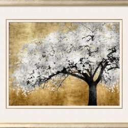 Artcom - Silver Blossoms by Kate Bennett - Silver Blossoms by Kate Bennett is a Framed Art Print set with a INFINITI frame and Polar White and Polar White matting.