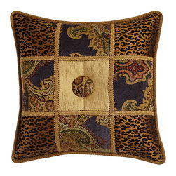 "Dian Austin Couture Home - Patchwork Pillow with Button Center 19""Sq. - INK/GOLD (19x19) - Dian Austin Couture HomePatchwork Pillow with Button Center 19""Sq.Designer About Dian Austin Couture Home:Taking inspiration from fashion's most famous houses of haute couture the Dian Austin Couture Home collection features luxurious bed linens and window treatments with a high level of attention to detail. Acclaimed home designer Dian Austin introduced the collection in 2006 and seeks out extraordinary textiles from around the world crafting each piece with local California artisans."