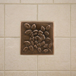 Solid Copper Wall Tile with Rose Design - Accent your kitchen or bath with this beautiful wall tile. It features a charming rose design and is constructed of solid copper.