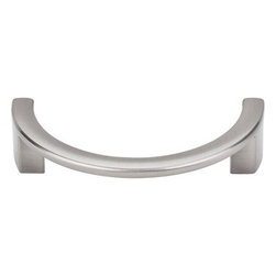 "Top Knobs - Half Circle Open Pull 3 1/2"" (c-c) - Brushed Satin Nickel - Length - 4 1/8"",Width - 2"",Projection - 14/16"",Center to Center - 3 1/2"",Base Diameter - W 3/8"" x L 1/2"""