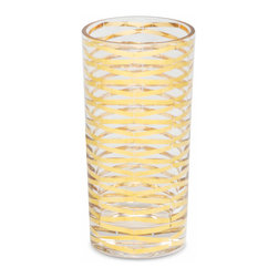 Kathy Kuo Home - Gilda Hollywood Regency Gold Stripe Tall Highball Glasses - Set of 4 - Ring in all of your happy occasions with these classic tall highball glasses. Polished gold ribbons cascade down the length of these luxurious glasses, creating a celebratory scene for your holidays and beyond.