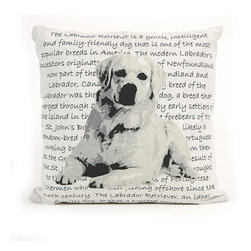 IMAX CORPORATION - Labrador Heritage Pillow - With a bold black and white Labrador illustration, this pillow features the heritage and history of this breed in beautiful writing, sure to add a per perfect touch to any home. Find home furnishings, decor, and accessories from Posh Urban Furnishings. Beautiful, stylish furniture and decor that will brighten your home instantly. Shop modern, traditional, vintage, and world designs.