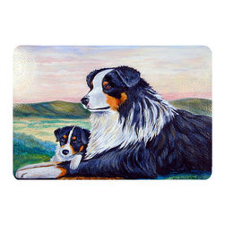 Caroline's Treasures - Australian Shepherd Kitchen Or Bath Mat 20X30 - Kitchen or Bath COMFORT FLOOR MAT This mat is 20 inch by 30 inch.  Comfort Mat / Carpet / Rug that is Made and Printed in the USA. A foam cushion is attached to the bottom of the mat for comfort when standing. The mat has been permenantly dyed for moderate traffic. Durable and fade resistant. The back of the mat is rubber backed to keep the mat from slipping on a smooth floor. Use pressure and water from garden hose or power washer to clean the mat.  Vacuuming only with the hard wood floor setting, as to not pull up the knap of the felt.   Avoid soap or cleaner that produces suds when cleaning.  It will be difficult to get the suds out of the mat.