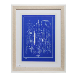 """Game Fish Blueprint With Frame - Authentic nautical blueprints in a premium quality wooden white frame and linen matting.Dimensions: 35"""" height, 28"""" width, 0.5"""" depth"""