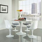 """LexMod - Lippa 5 Piece Dining Set in Gray - Lippa 5 Piece Dining Set in Gray - This Lippa Dining table and chair set is the perfect solution to your dining seating needs! Perfect when entertaining or for everyday relaxation. Table has a lacquered cast aluminum base. Chair has a swivel seat with a padded cushion upholstered in several fabric colors. Whites are reinforced bonded finishes that maintain their gloss through years of use. Both the base and top are treated with a clear protective finish to resist scratches, stains and scuffs. Set Includes: Four - Lippa Side Chairs One - 48"""" Lippa Dining Table Scratch and Chip Resistant Finish, Fiberglass Top, Chairs: ABS Plastic Seat, Fiberglass Base, Cloth Cushions Overall Product Dimensions: 58""""L x 58""""W x 32""""H Overall Table Dimensions: 48""""L x 48""""W x 29""""H Overall Chair Dimensions: 21""""L x 20""""W x 32""""H Seat Dimensions: 19""""L x 19""""H - Mid Century Modern Furniture."""