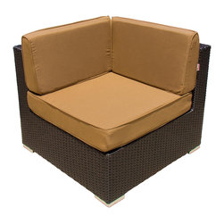 Lakeview Outdoor Designs - Avery Island Resin Wicker Corner Patio Sectional Chair - With sleek lines and luxurious, deep seating, the versatile Avery Island collection by Lakeview Outdoor Designs will captivate your guests with its high-end style and uncompromising craftsmanship. This chic, low maintenance corner section features a graceful, espresso-colored flat wicker that wonderfully blends with any patio decor or style. The deep seat includes a 5-inch thick canvas camel cushion made with washable, Sunbrella fabric that will not fade in the sun. The top-grade Viro all-weather resin wicker is made using an exclusive technique creating beautiful synthetic fibers that are completely colored throughout and not just on the outside. The superior quality and meticulous construction ensures your furniture will not crack, peel or fade from season to season or in extreme weather conditions (-96 to 176 degrees). The wicker is then hand-wrapped over a hidden, powder-coated and rust-resistant aluminum frame with non-marking, adjustable leveling feet for support and durability. With the included assembly clips, you can attach the corner section with other Avery Island collection pieces in any arrangement you desire.
