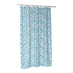 """""""Circles,"""" Shower Stall-Sized Polyester Shower Curtain Liner - """"Circles"""" Blue stall size 100% polyester fabric shower curtain, size 54"""" wide x 78"""" long. Protect your shower with our """"Circles"""" Blue Stall-Sized (54''  wide x 78'' long) Fabric Shower Curtain. This machine-washable, 100% polyester liner resists water, protecting your favorite shower curtain from water damage without the plastic look of vinyl. Additionally, a weighted hem ensures this liner holds firmly in place each time you shower.  Machine wash in warm water, tumble dry, low, light iron as needed"""