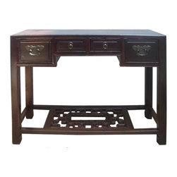 Golden Lotus - Chinese  Carving Footrest Side Table Desk - This is a traditional Chinese vanity desk with hardware drawers and nice carving footrest base. It is a nice oriental side table for the entrance or as a bathroom sink table.