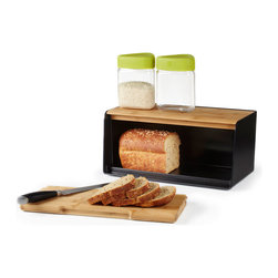 Modern Bread Box - This BPA free Modern Bread Box thinks outside the usual staid mold. Eco-friendly and easy to clean, this bread box has a bamboo lid and removable, sliding bamboo panel that can be used as a cutting board.