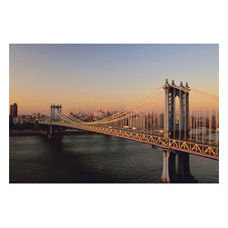 Custom Photo Factory - Brooklyn Bridge at Dusk in New York Canvas Wall Art - Brooklyn Bridge at Dusk in New York  Size: 20 Inches x 30 Inches . Ready to Hang on 1.5 Inch Thick Wooden Frame. 30 Day Money Back Guarantee. Made in America-Los Angeles, CA. High Quality, Archival Museum Grade Canvas. Will last 150 Plus Years Without Fading. High quality canvas art print using archival inks and museum grade canvas. Archival quality canvas print will last over 150 years without fading. Canvas reproduction comes in different sizes. Gallery-wrapped style: the entire print is wrapped around 1.5 inch thick wooden frame. We use the highest quality pine wood available. By purchasing this canvas art photo, you agree it's for personal use only and it's not for republication, re-transmission, reproduction or other use.