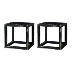 Studded Black Marco Low Tables - A Pair - Dimensions 17.5ʺW × 17.5ʺD × 17.5ʺH