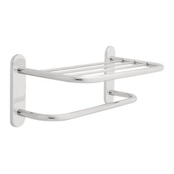 "Delta 18"" Brass Towel Shelf with One Bar, Concealed Mounting - 43018 - Style meets performance with Delta commercial products that not only provide long life, but also enhance their environments. From the beginning, Delta has sought out innovative solutions to help people use water in better ways."