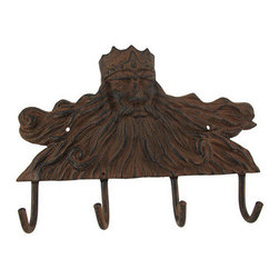 King Neptune Cast Iron Wall Plaque with Hooks - This cast iron wall plaque has 4 hooks for hanging dog leashes, reusable grocery bags, light jackets, or anything you may want to keep handy. It measures 12 inches long, 8 1/2 inches tall, 2 inches deep and features a depiction of the mighty King Neptune across the top. It has 2 pre-drilled holes on either side, so you can easily mount it to the wall, and it is sure to be admired by all. NOTE: Hardware included.