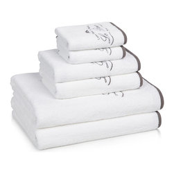 """Kassatex - Le Bain Collection - The French connection: A little bit of Paris is embroidered into your newest set of luxurious Le Bain Egyptian cotton towels. """"luxe pour la maison"""" says it all."""