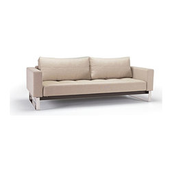 """Innovation USA - Innovation USA Cassius Deluxe Sofa - Chrome Legs - Basic Light Grey - 55"""" x 91"""" - A convertible sofa in a classy, elegant design that allows it to be free standing in the middle of a room."""