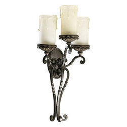 Quorum Lighting - Quorum Lighting Alameda Traditional Wall Sconce X-68-3-6825 - Romance is alive and well with this traditional wall sconce. The old bronze finish on the curving base ensures premium quality and durability. Each of three candles looks realistic and will add soothing elegance to your dining room, living room, or bedroom. The amber scavo glass provides a friendly glow.