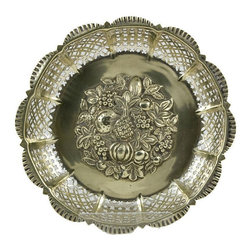 T.W&S on base - Consigned Shabby Chic Fruit Bowl Silver Plated with Embossed Decor - Antique English silver plated pierced dessert fruit bowl, centre embossed with a raised composition of fruits and berriers, late 19th century Victorian.